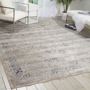 Malta Rugs MAI01 by Kathy Ireland in Ivory and Blue