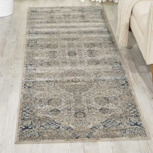 Malta Hallway Runners MAI01 by Kathy Ireland in Ivory and Blue