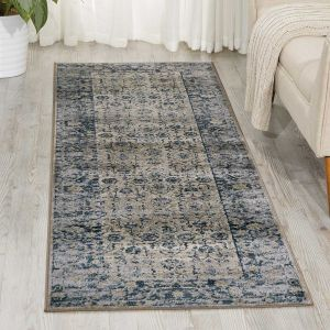 Malta Hallway Runners MAI04 by Kathy Ireland in Ivory and Blue