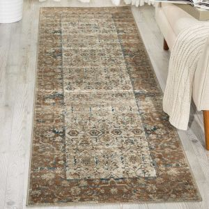 Malta Traditional Border Hallway Runner Rugs MAI04 by Kathy Ireland in Taupe