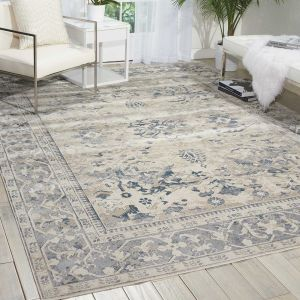 Malta Traditional Border Rugs MAI05 by Kathy Ireland in Ivory and Blue