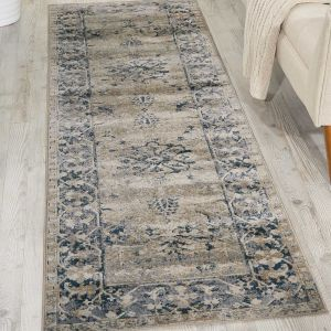 Malta Traditional Border Hallway Runner Rugs MAI05 by Kathy Ireland in Ivory and Blue