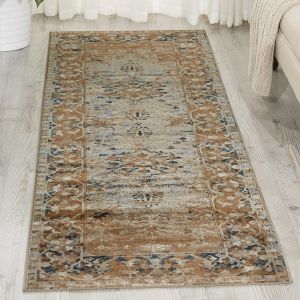 Malta Traditional Border Hallway Runner Rugs MAI05 by Kathy Ireland in Taupe