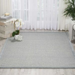 River Brook Rugs KI809 by Kathy Ireland in Light Blue and Ivory