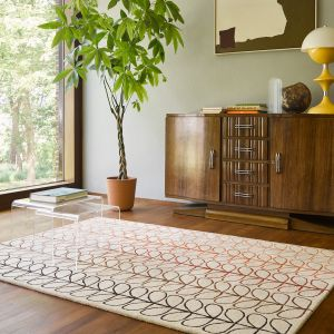 Linear Stem Ombre Wool Rugs 061103 in Tomato By Orla Kiely