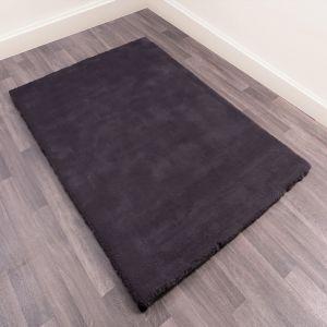 Lulu Modern Plain Shaggy Rugs in Charcoal Grey