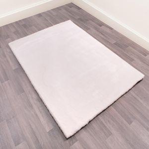 Lulu Modern Plain Shaggy Rugs in Ivory White