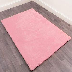 Lulu Modern Plain Shaggy Rugs in Blush Pink