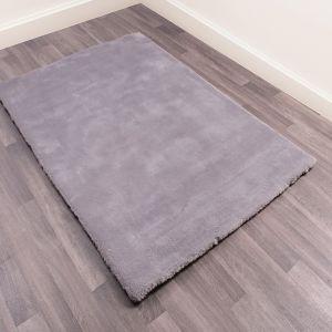Lulu Modern Plain Shaggy Rugs in Silver Grey