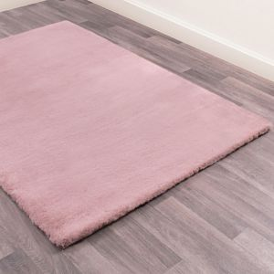 Luxe Faux Fur Plain Rug in Blush Pink