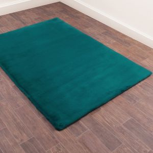 Luxe Faux Fur Plain Rug in Teal Blue