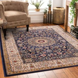 Madras 0772 Traditional Bordered Rugs in Navy Blue