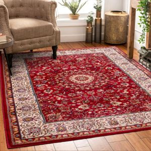 Madras 0772 Traditional Bordered Rugs in Red