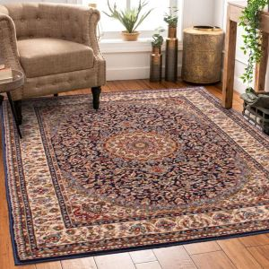 Madras 4626 Traditional Bordered Rugs in Navy Blue