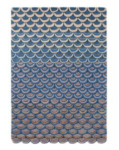 Masquerade Geometric Scale Wool Rugs 16008 by Ted Baker in Blue
