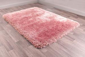Mayfair Modern Plain Shaggy Rugs in Blush Pink