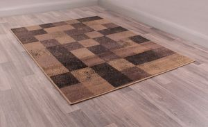 Squares Geometric Rugs in Taupe Brown