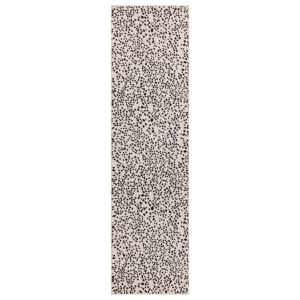 Muse MU11 Abstract Spotty Woven Runner Rugs in Black Cream