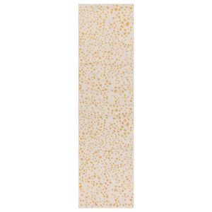 Muse MU12 Abstract Spotty Woven Runner Rugs in Yellow Cream