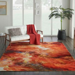 Le Reve Modern Rugs LER05 in red flame by Nourison