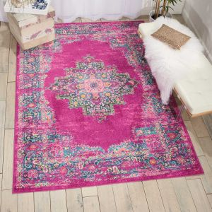 Passion Traditional Medallion Persian Rugs PSN03 in Fuchsia