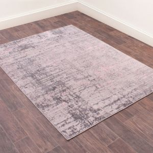 Earth Modern Abstract Rug in Pink
