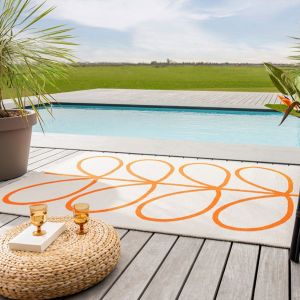 Giant Linear Stem indoor outdoor Rugs 460703 in Persimmon Orange by Orla Kiely