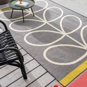 Giant Linear Stem Modern Wool Rugs 460605 in Slate by Orla Kiely