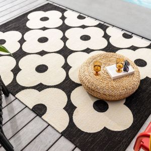 Spot Flower Floral Indoor Outdoor Rugs 460805 Black by Orla Kiely