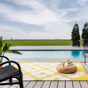 Spot Flower Floral Indoor Outdoor Rugs 460806 Dandelion Yellow by Orla Kiely