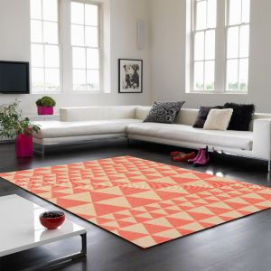 Onix ON07 Triangles Flame Rugs in Pink