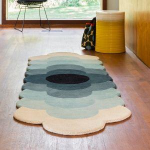Optical Flower Wool Rugs 061207 in Teal By Designer Orla Kiely