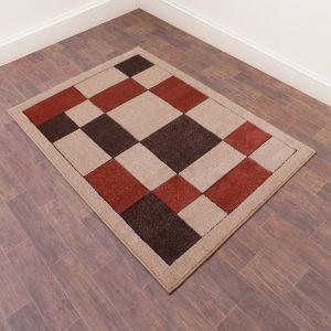Orbit Blocks Geometric Abstract Rugs in Terracotta