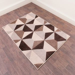 Orbit Geometric Abstract Rugs in Natural Terracotta