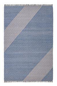 Oslo OSL701 Wool Stripe Rugs in Pacific Blue