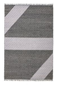 Oslo OSL702 Wool Geometric Stripe Rugs in Onyx Grey