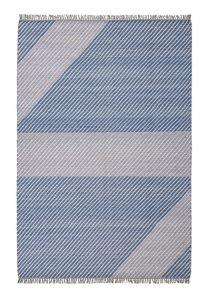 Oslo OSL702 Wool Geometric Stripe Rugs in Pacific Blue