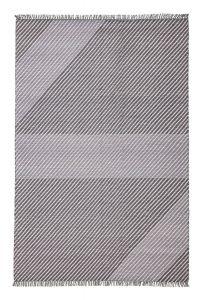 Oslo OSL702 Wool Geometric Stripe Rugs in Steel Grey