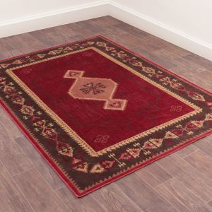 Oushak Tabriz Traditional Rug in Red