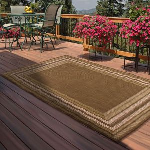 Indoor Outdoor Border Rugs in Green by Rugstyle