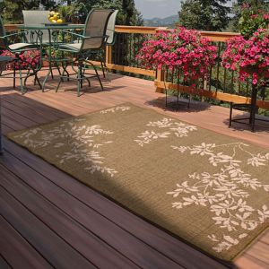 Indoor Outdoor Leaves Rugs in Green by Rugstyle