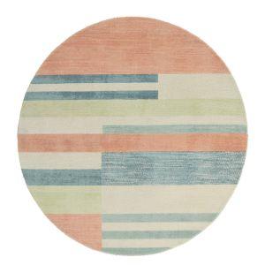 Parwa Blocks Wool Circle Round Rugs 026300 in Chalky Brights