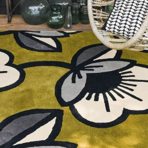 Passion Flower Rugs 59607 in Olive by Orla Kiely