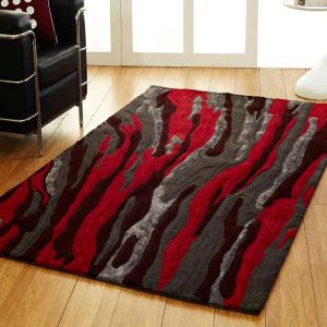 Unique Passion Rug in Dark Grey Red