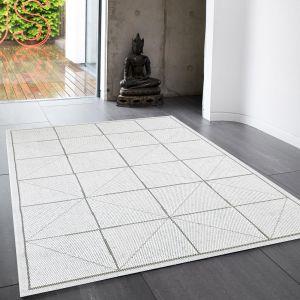 Patio Geometric PAT06 Indoor Outdoor Rugs in White