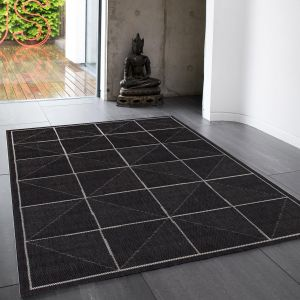 Patio Check PAT07 Geometric Indoor Outdoor Rugs in Charcoal Grey