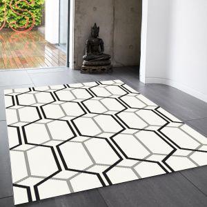 Patio Geometric PAT08 Hexagon Indoor Outdoor Rugs in Ivory White