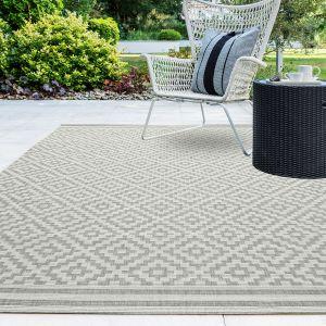 Patio Diamond PAT11 Geometric Indoor Outdoor Rugs in Grey