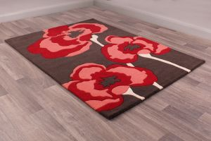 Poppie rugs in Red by URCO