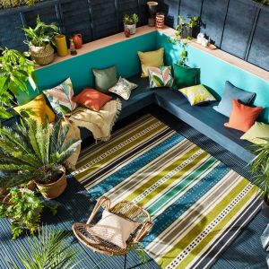 Scion Rivi Kiwi Stripe Indoor Outdoor Rugs 426908 Green